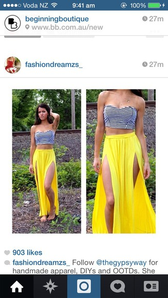 strapless top crop stripes skirt yellow maxi maxi skirt long split skirt split maxi split maxi skirt