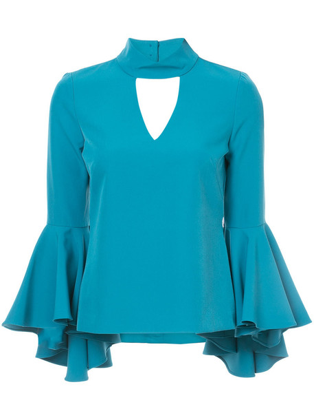 MILLY blouse women spandex blue top