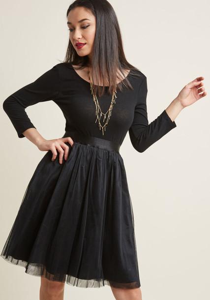 Modcloth skirt tulle skirt black
