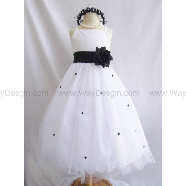 Flower Girl Dress - WHITE Tulle Dress with BLACK Sash and Rosebuds - Communion, Easter, Jr. Bridesmaid, Wedding - Baby to Teen