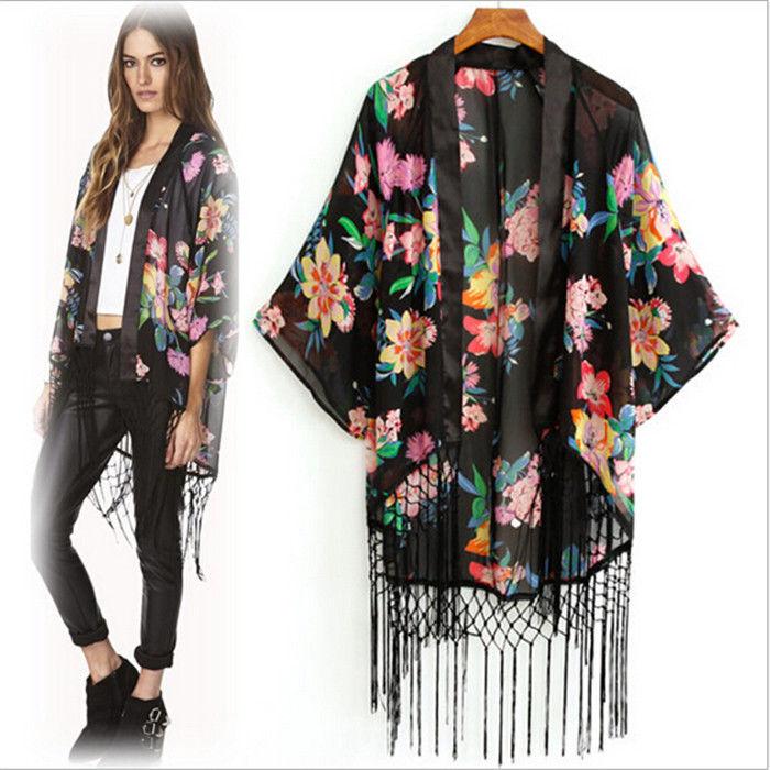 Women Summer Tassel Floral Kimono Sunblock Chiffon Lace Cardigan ...