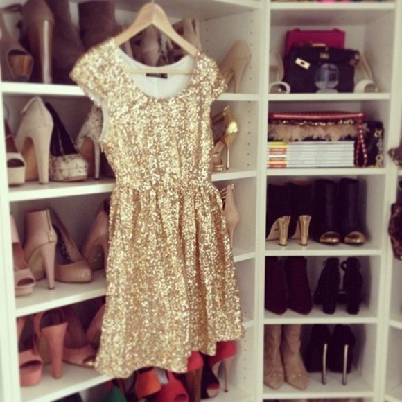 dress gold pretty glitter party sparkle sequin cute short