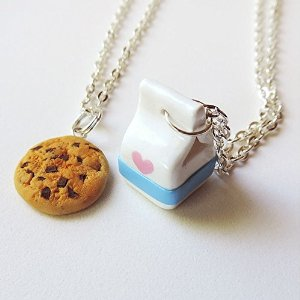 Amazon.com: Handmade Milk and Cookies Best Friends Necklaces Made of Polymer Clay: Kitchen & Dining