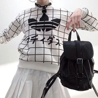 sweater white top adidas sweater kawaii black and white grunge grid adidas black white japanese fashion korean fashion kfashion jewels black backpack backpack white skirt japanese japan sweatshirt tumblr clothes soft grunge pastel grunge hipster