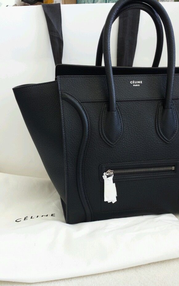 3000621dd6 Authentic New 2014 CELINE PEBBLED Small Mini Black Luggage ...
