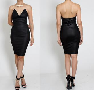 dress sweet heart faux pleather strapless bodycon dress fitted party outfits clubwear