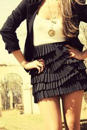 dress,short dress,black and white dress,ruffle,skirt,black skirt,jacket,jewels,shirt,navy,cute,girly,fashion girly,tank top,clothes,tumblr clothes,pinterest,t-shirt,sexy,black ruffle skirt,feminine,black