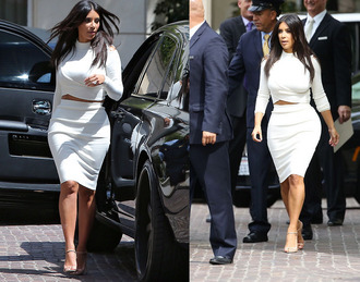 top skirt kim kardashian white crop tops white shoes