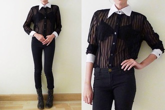 blouse buffon up stripes sheer grunge see through
