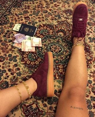 shoes burgundy suede sneakers nike red velvet maroon shoes fashion shoes maroon red custom red burgundy shoes nike air force 1 low top sneakers sneakers nike sneakers nike shoes rare very rare customized jewels