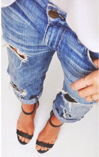jeans effortless casual high-heels shoes strappy heels