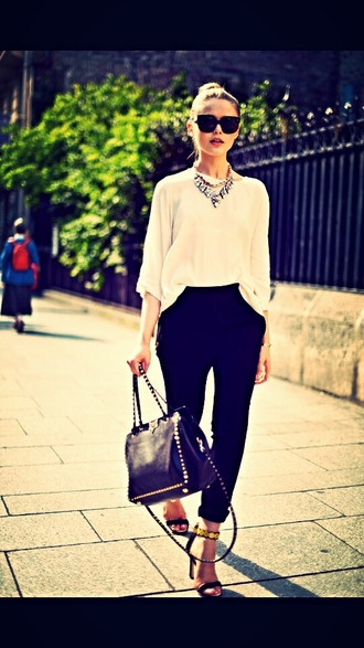 pants decontracted summer outfits summer top sunglasses jewels bag
