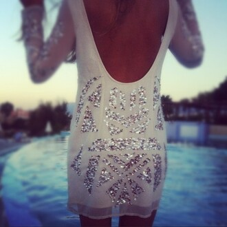 dress backless dress backless sequins sequin dress long sleeves white shift dress