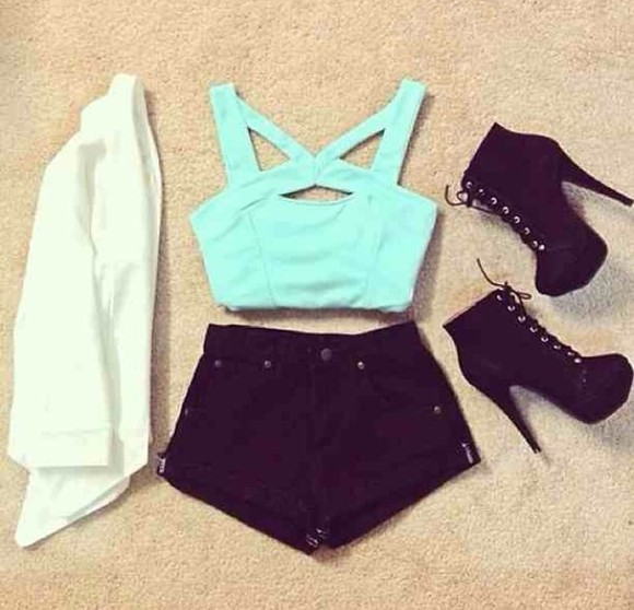 t-shirt blue jacket shorts tank top shoes blouse boots sweater shirt short crop tops High waisted shorts black mint green high heels