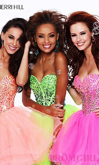 Short Strapless Baby Doll Dress by Sherri Hill