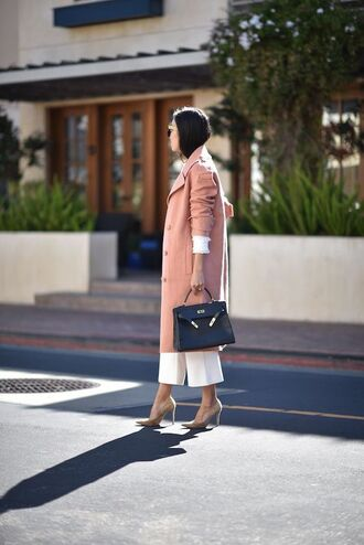 coat pink coat bag black bag pants cropped pants white pants pumps pointed toe pumps high heel pumps tumblr pink winter outfit