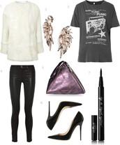 bag,grey t-shirt,graphic tee,ear cuff,leather pants,purple,metallic,black heels,faux fur,coat,jewels,t-shirt,jeans,shoes,diamond ear cuff,vue boutique,leather leggings