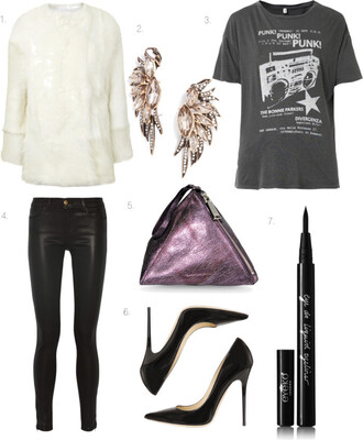 where did u get that blogger bag grey t-shirt graphic tee ear cuff leather pants purple metallic black heels faux fur coat jewels t-shirt jeans shoes