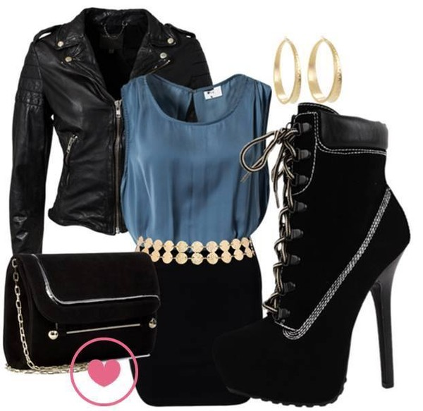 jacket hot dress leather jacket high heels