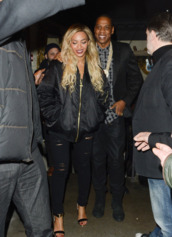 jacket,beyonce,jeans,sandals,beyonce fashion,bomber jacket,ripped jeans,sandal heels