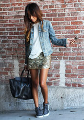 sincerely jules,skirt,sweater,jacket,bag,shoes,jewels,summer,shirt,gold,glitter golden skirt,glitter,glitter skirts,short skirts,swag