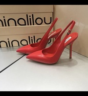 shoes,red highheels,ninalilou,chanel inspired