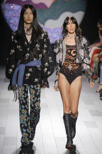 top bodysuit jamie bochert model runway boots anna sui jacket nyfw 2017 ny fashion week 2017