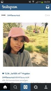 hat,snapback,cap,pink cap,karrueche,urban pastel pink