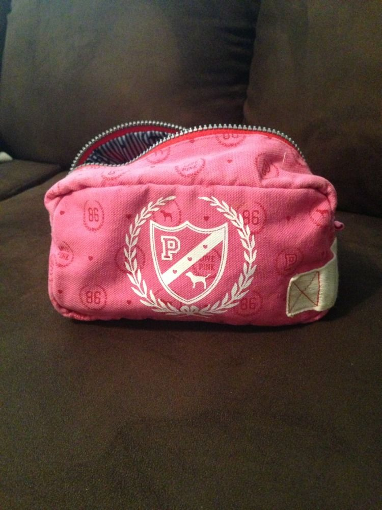 Victoria's Secret Pink Zippered Canvas Make Up Bag Case | eBay