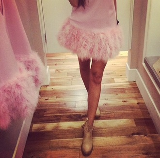 dress pink pink dress feathers feather dress