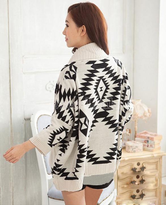 Women's Geometric Pattern Open Front Loose Sweater Wrap Cape Cardigan