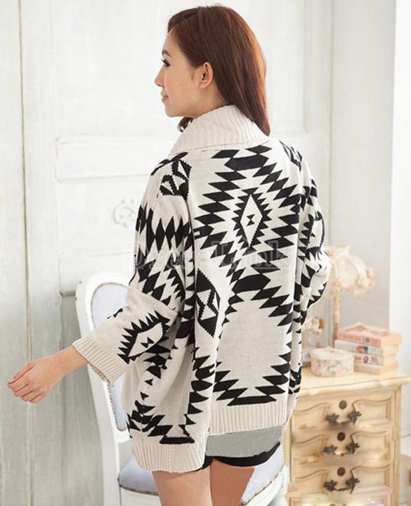 Women's Geometric Pattern Open Front Loose Sweater Wrap Cape Cardigan