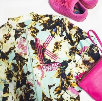 jacket kenzo floral paris green pink multicolor