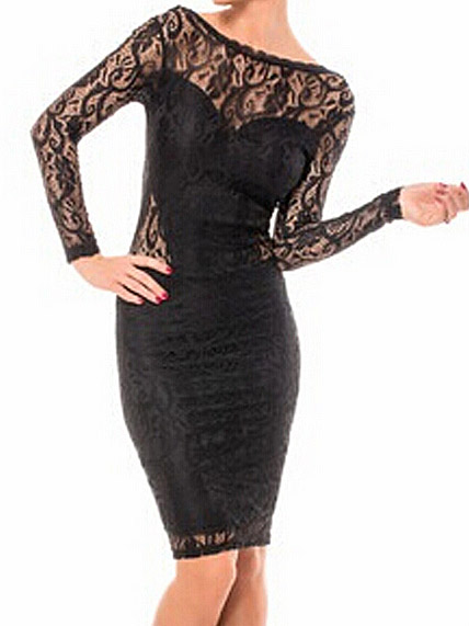 Laced spliced long sleeve backless boat neck bodycon dresses black