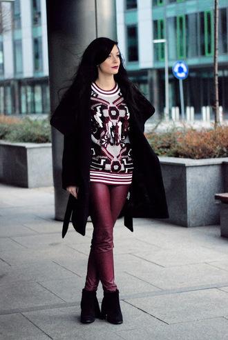 i am sony blogger leather leggings faux leather warm sweater black coat