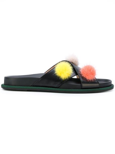 Fendi fur women leather black shoes