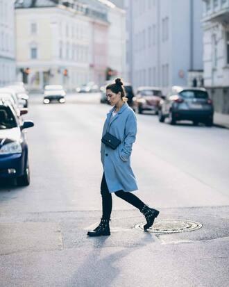 coat blue coat pants black pants shoes black shoes handbag black handbag bag