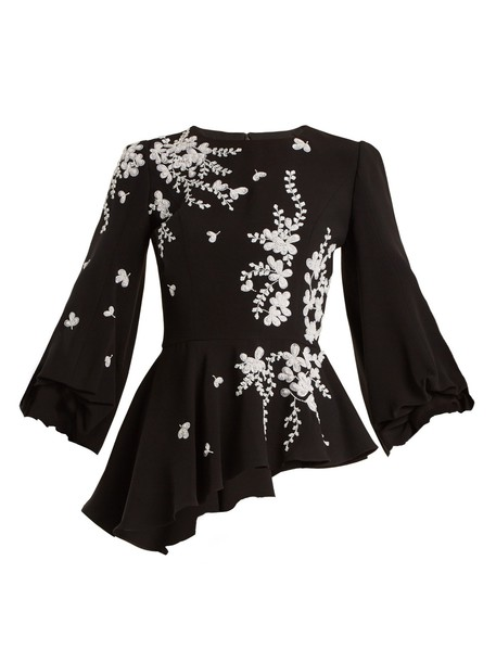 ANDREW GN blouse embroidered embellished floral white black top