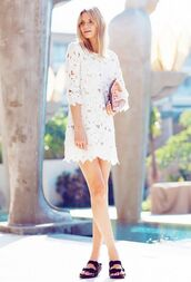 dress,eyelet dress,tuula,blogger,mini dress,short dress,slide shoes,black slides,three-quarter sleeves,romantic summer dress,summer dress,summer outfits,romantic dress,eyelet detail
