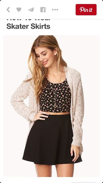 skirt black skirt floral skater skirt circle skirt black skater skirt crop tops floral crop top floral top top cardigan