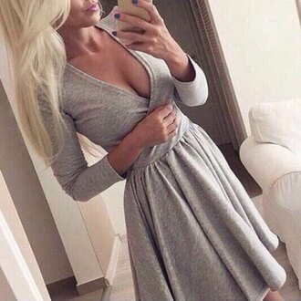 dress stylish rose wholesale plunge v neck long sleeve dress sexy dress cute dress casual fall dress winter outfits blonde hair thanksgiving black dress fashion grey cute girly trendy skater dress pretty long sleeves cleavage feminine