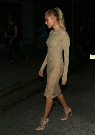 dress top mesh mesh dress hailey baldwin pumps bodysuit nude midi dress see through see through dress shoes green green dress long sleeves party midi party dress sexy sexy dress sexy party dresses sexy outfit classy olive green girly girly dress cute cute dress dope celebrity style celebrity celebstyle for less