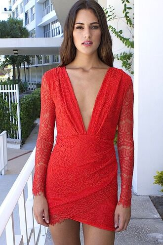 red dress red lace red lace dress red bodycon lace bodycon exposed back plunging neckline dress www.ustrendy.com dress