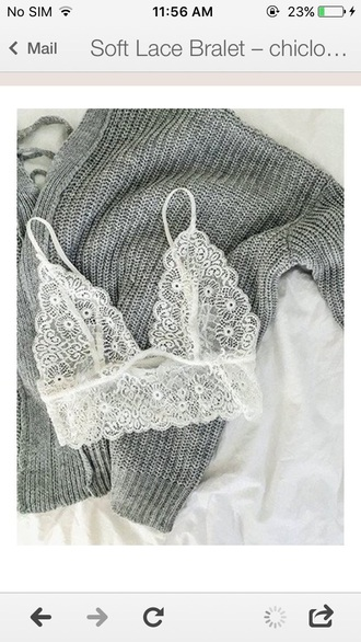 underwear lace cute white girly girl girly wishlist bra bralette lace bralette lace bra white bralette knitted sweater grey sweater