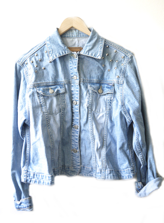 jacket vintage denim jacket vintage coat denim vintage levis spikes studded studs