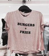 t-shirt,burger and fries,pink,classy,luxury,fashion