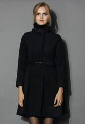 chicwish,belted woolen coat,black coat with fur collar,fashion and chic