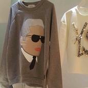 karl lagerfeld,ysl,embroidered,neoprene,embellished,sweatshirt ysl,sweater