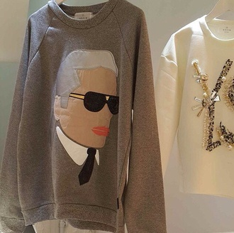 karl lagerfeld ysl embroidered neoprene embellished sweatshirt ysl sweater