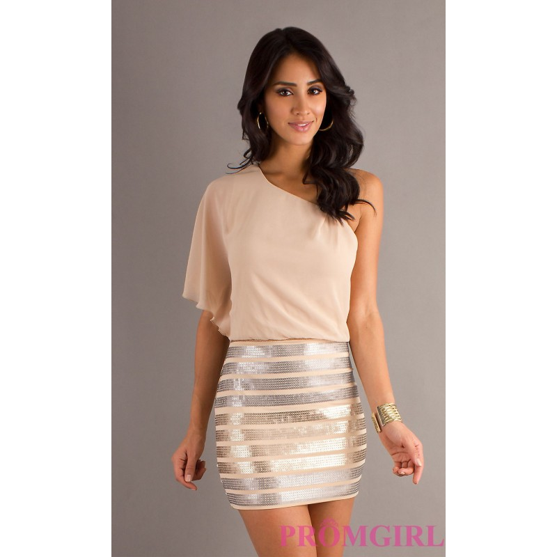 One Shoulder Short Sequin Dress by As U Wish - Discount Evening ...
